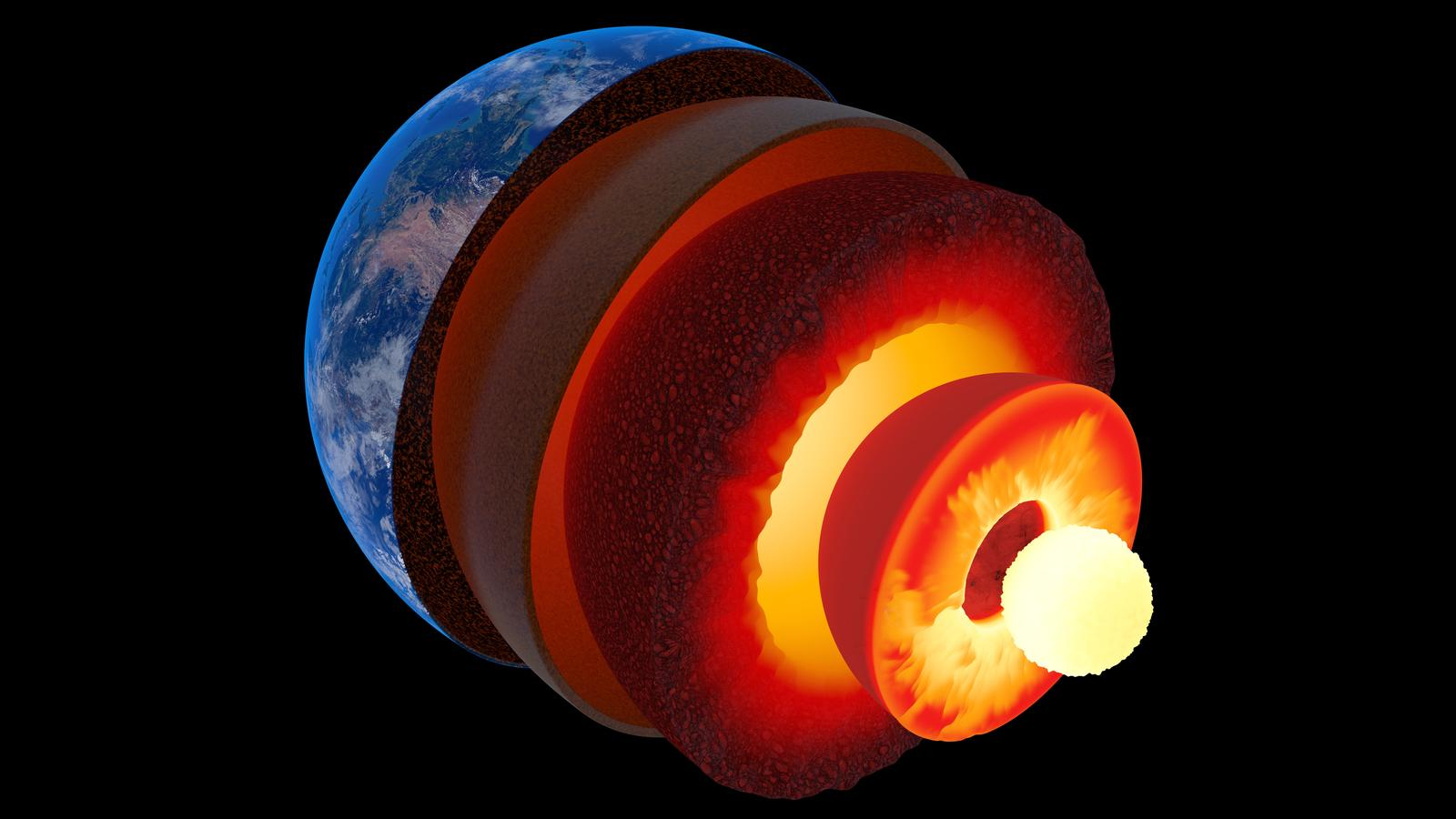 Earth core structure illustrated with geological layers according to scale - isolated on black (Texture maps from NASA)
